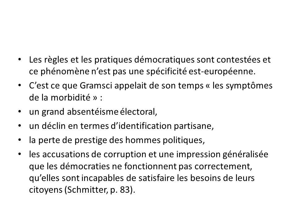 Les règles et les pratiques démocratiques sont contestées et ce phénomène nest pas une spécificité est-européenne. Cest ce que Gramsci appelait de son