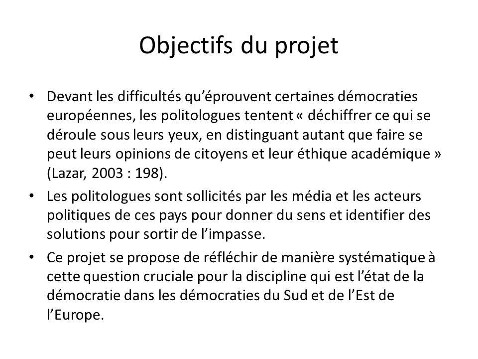 Objectifs du projet Devant les difficultés quéprouvent certaines démocraties européennes, les politologues tentent « déchiffrer ce qui se déroule sous