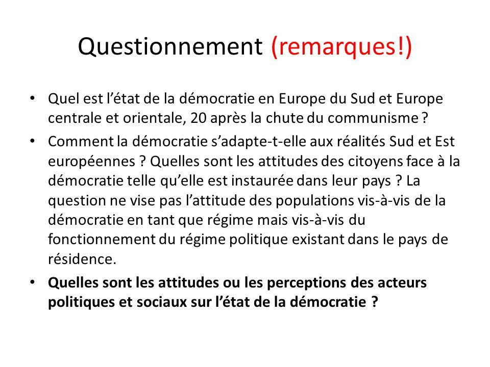 Questionnement (remarques!) Quel est létat de la démocratie en Europe du Sud et Europe centrale et orientale, 20 après la chute du communisme ? Commen