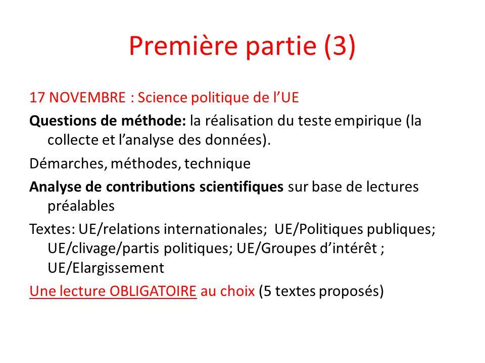 Première partie (3) 17 NOVEMBRE : Science politique de lUE Questions de méthode: la réalisation du teste empirique (la collecte et lanalyse des donnée
