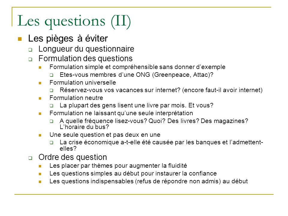 Les questions (II) Les pièges à éviter Longueur du questionnaire Formulation des questions Formulation simple et compréhensible sans donner dexemple E