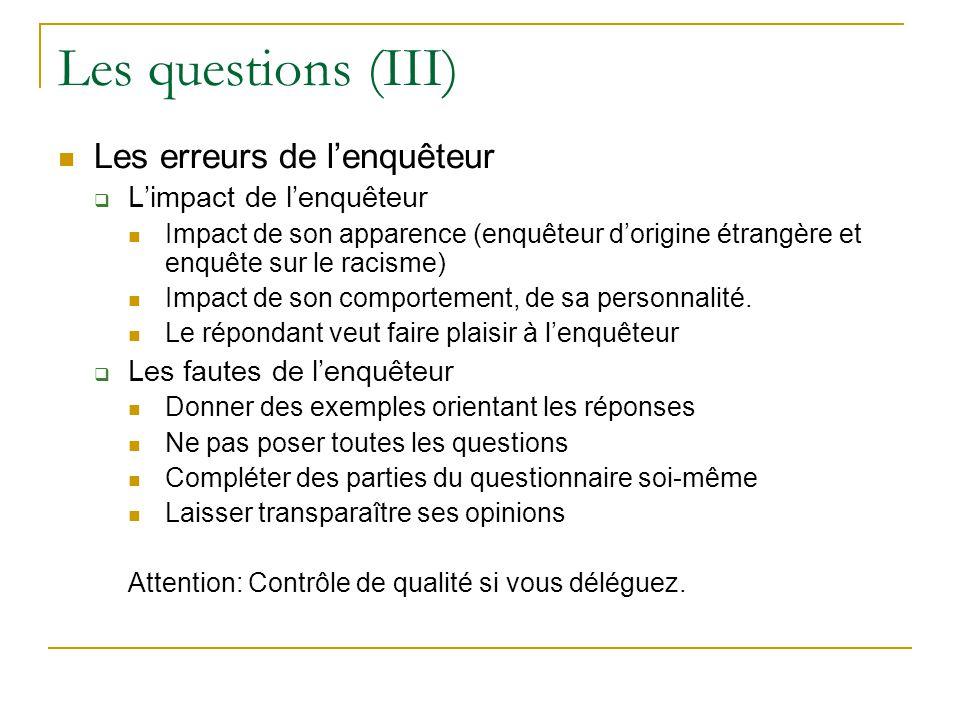 Les questions (III) Les erreurs de lenquêteur Limpact de lenquêteur Impact de son apparence (enquêteur dorigine étrangère et enquête sur le racisme) I
