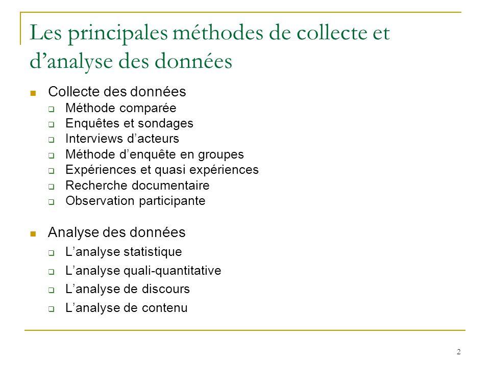 2 Les principales méthodes de collecte et danalyse des données Collecte des données Méthode comparée Enquêtes et sondages Interviews dacteurs Méthode