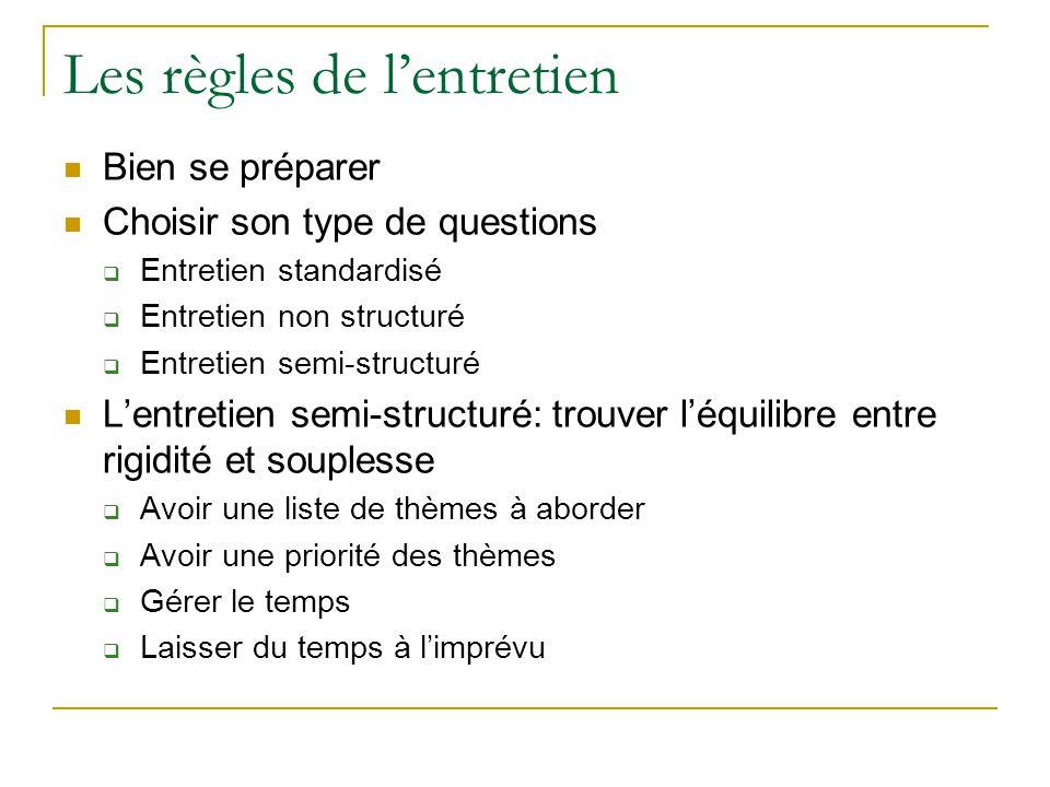 Les règles de lentretien Bien se préparer Choisir son type de questions Entretien standardisé Entretien non structuré Entretien semi-structuré Lentret