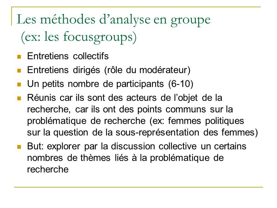 Les méthodes danalyse en groupe (ex: les focusgroups) Entretiens collectifs Entretiens dirigés (rôle du modérateur) Un petits nombre de participants (