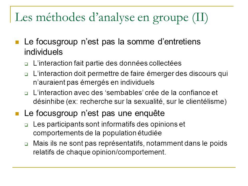 Les méthodes danalyse en groupe (II) Le focusgroup nest pas la somme dentretiens individuels Linteraction fait partie des données collectées Linteract