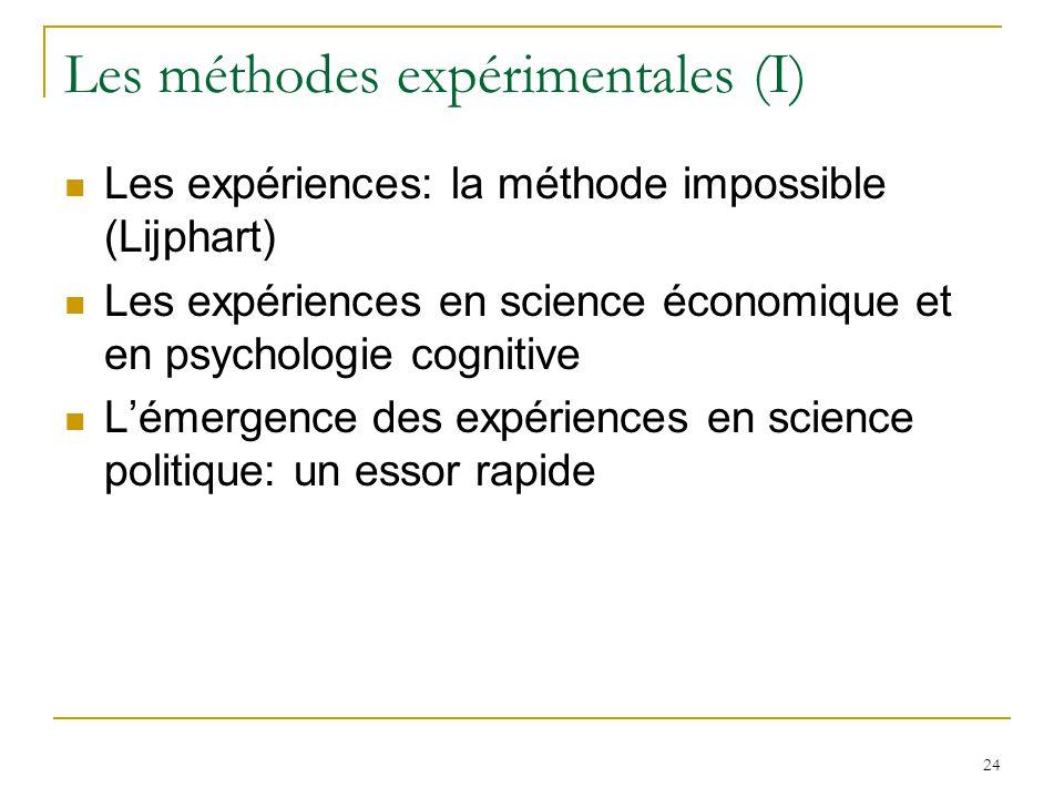 Les méthodes expérimentales (I) Les expériences: la méthode impossible (Lijphart) Les expériences en science économique et en psychologie cognitive Lé