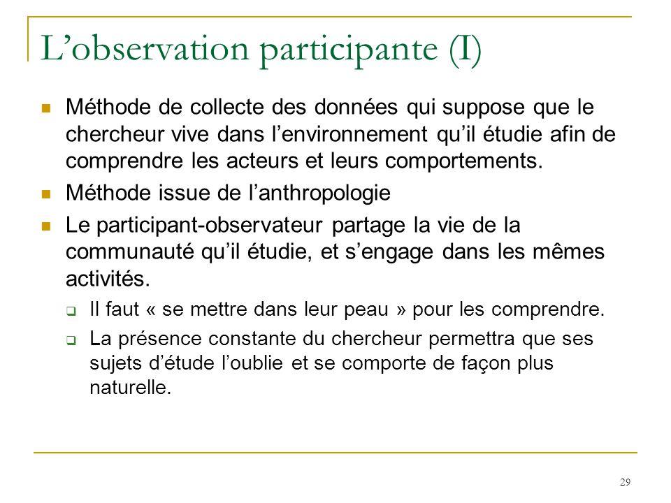 Lobservation participante (I) Méthode de collecte des données qui suppose que le chercheur vive dans lenvironnement quil étudie afin de comprendre les