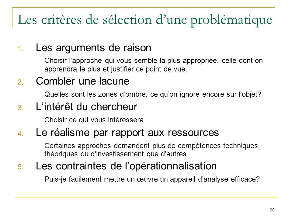20 Les critères de sélection dune problématique 1. Les arguments de raison Choisir lapproche qui vous semble la plus appropriée, celle dont on apprend