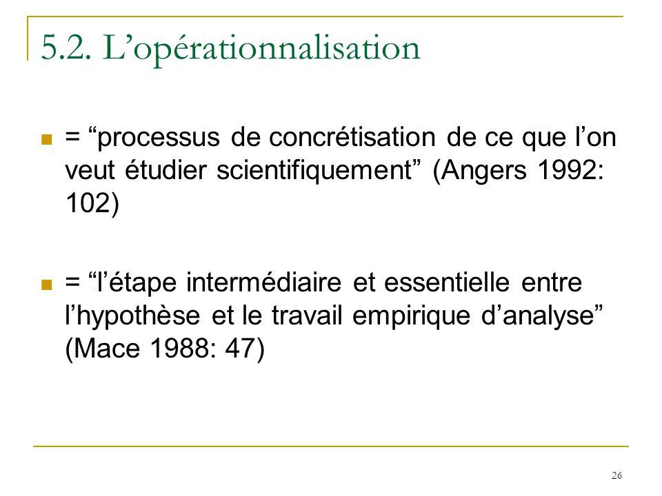 26 5.2. Lopérationnalisation = processus de concrétisation de ce que lon veut étudier scientifiquement (Angers 1992: 102) = létape intermédiaire et es