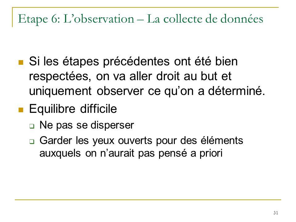 31 Etape 6: Lobservation – La collecte de données Si les étapes précédentes ont été bien respectées, on va aller droit au but et uniquement observer ce quon a déterminé.