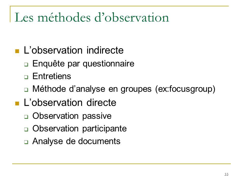 33 Les méthodes dobservation Lobservation indirecte Enquête par questionnaire Entretiens Méthode danalyse en groupes (ex:focusgroup) Lobservation dire