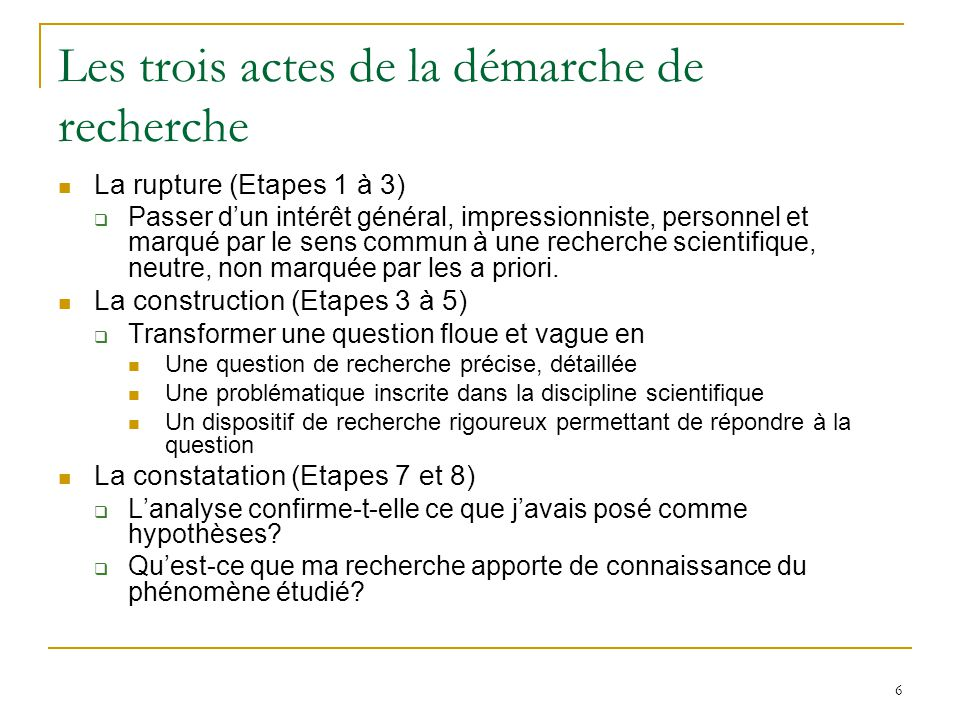 6 Les trois actes de la démarche de recherche La rupture (Etapes 1 à 3) Passer dun intérêt général, impressionniste, personnel et marqué par le sens commun à une recherche scientifique, neutre, non marquée par les a priori.