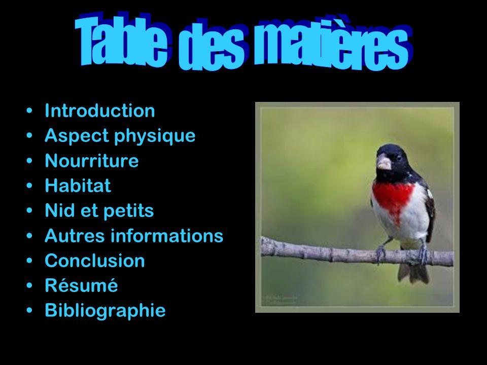 Introduction Aspect physique Nourriture Habitat Nid et petits Autres informations Conclusion Résumé Bibliographie