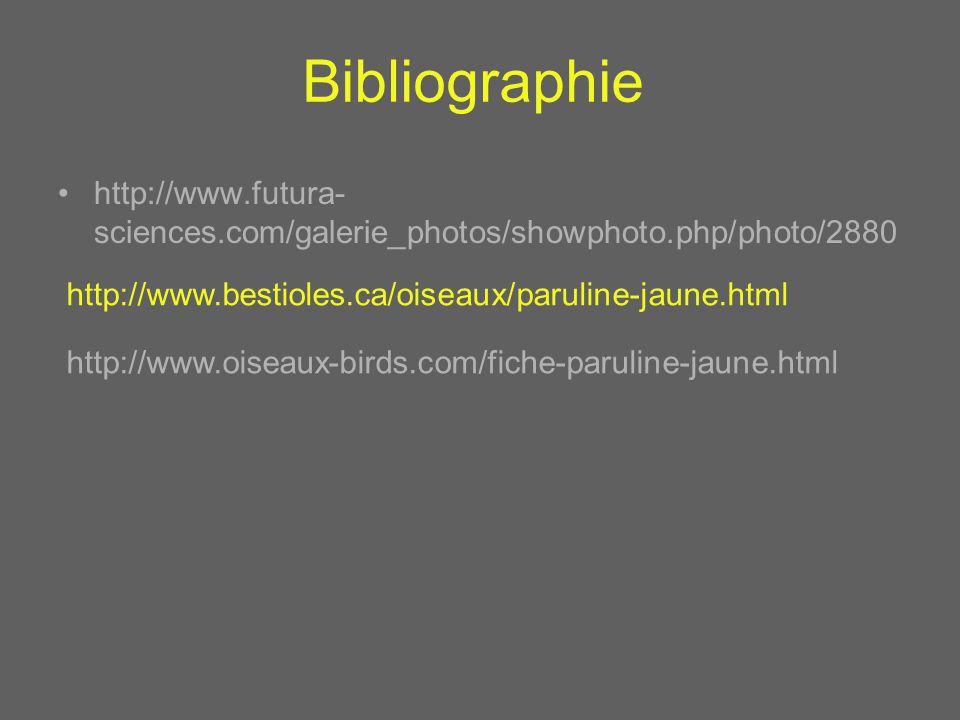 Bibliographie http://www.futura- sciences.com/galerie_photos/showphoto.php/photo/2880 http://www.bestioles.ca/oiseaux/paruline-jaune.html http://www.o