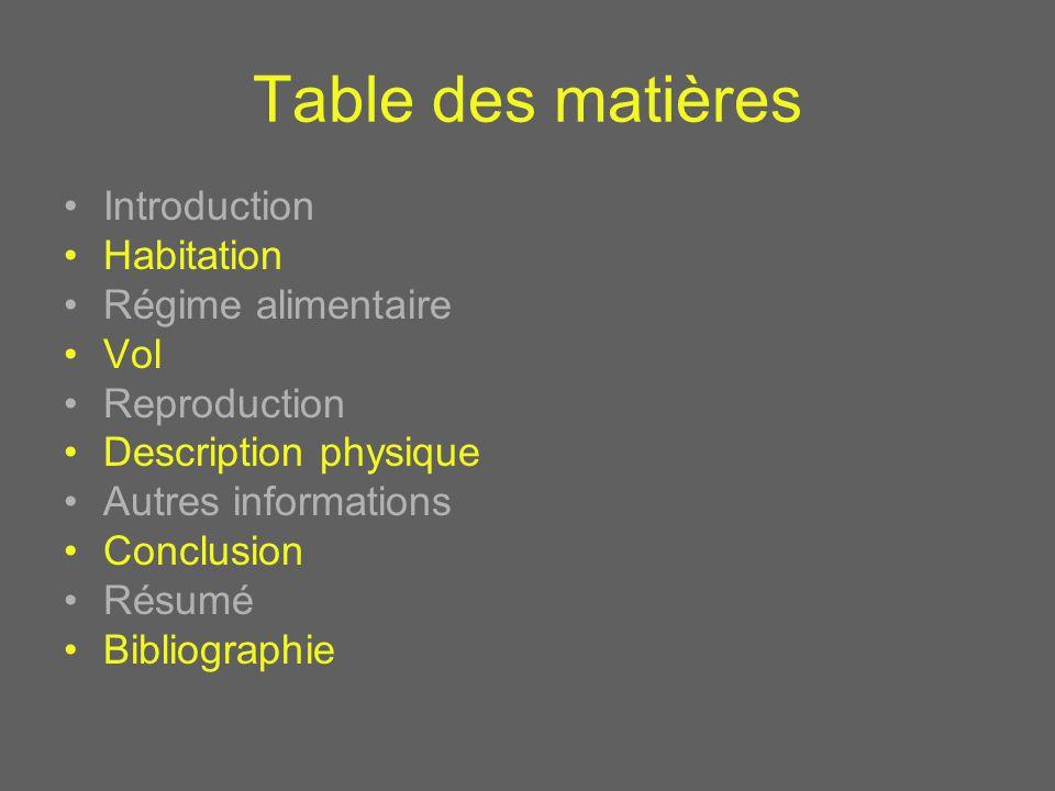 Table des matières Introduction Habitation Régime alimentaire Vol Reproduction Description physique Autres informations Conclusion Résumé Bibliographie