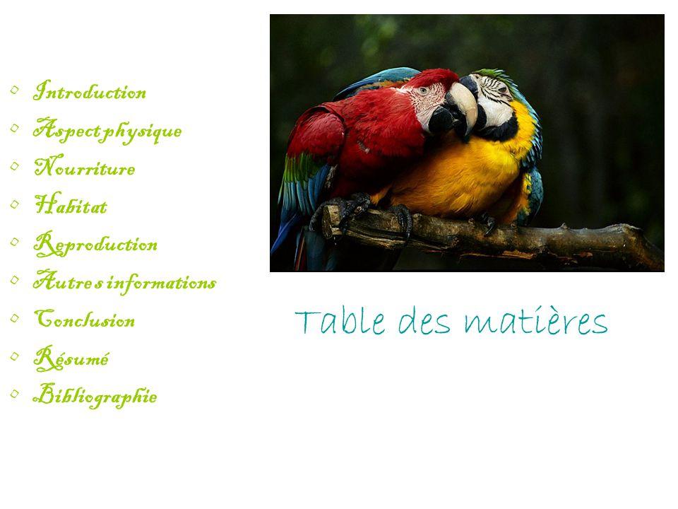 Table des matières Introduction Aspect physique Nourriture Habitat Reproduction Autre s informations Conclusion Résumé Bibliographie