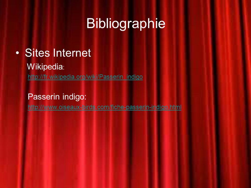 Bibliographie Sites Internet Wikipedia : http://fr.wikipedia.org/wiki/Passerin_indigo Passerin indigo: http://www.oiseaux-birds.com/fiche-passerin-indigo.html