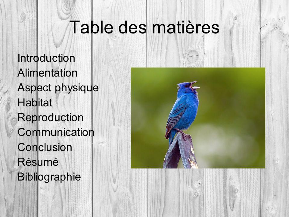 Table des matières Introduction Alimentation Aspect physique Habitat Reproduction Communication Conclusion Résumé Bibliographie