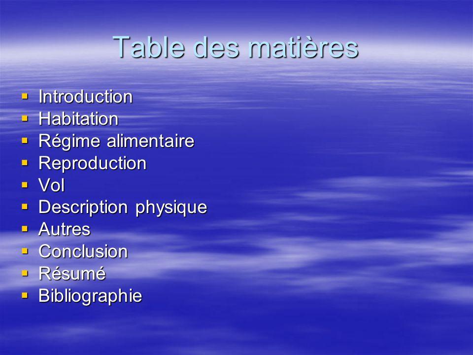 Table des matières Introduction Habitation Régime alimentaire Reproduction Vol Description physique Autres Conclusion Résumé Bibliographie