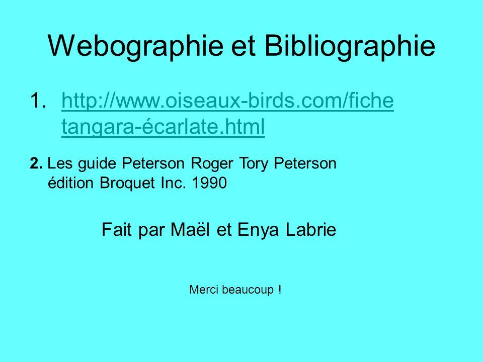 Webographie et Bibliographie 1.http://www.oiseaux-birds.com/fiche tangara-écarlate.htmlhttp://www.oiseaux-birds.com/fiche tangara-écarlate.html 2. Les