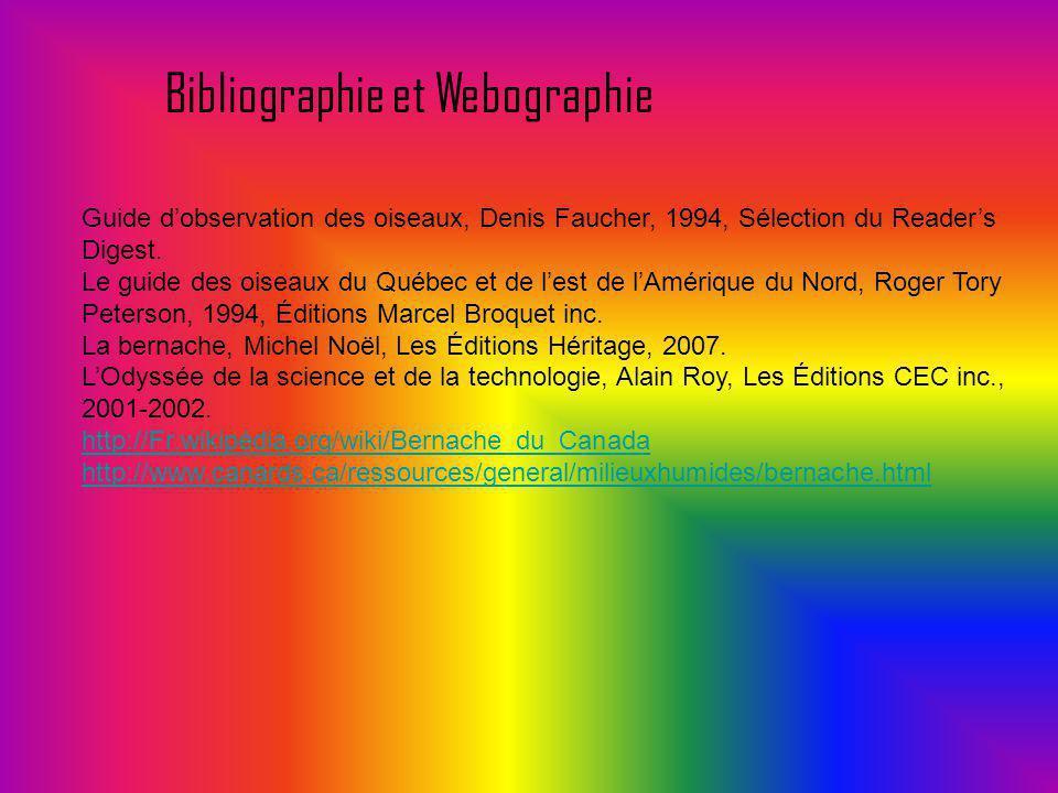 Bibliographie et Webographie Guide dobservation des oiseaux, Denis Faucher, 1994, Sélection du Readers Digest. Le guide des oiseaux du Québec et de le