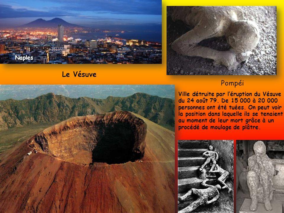 Le Vésuve Pompéi Ville détruite par léruption du Vésuve du 24 août 79. De 15 000 à 20 000 personnes ont été tuées. On peut voir la position dans laque