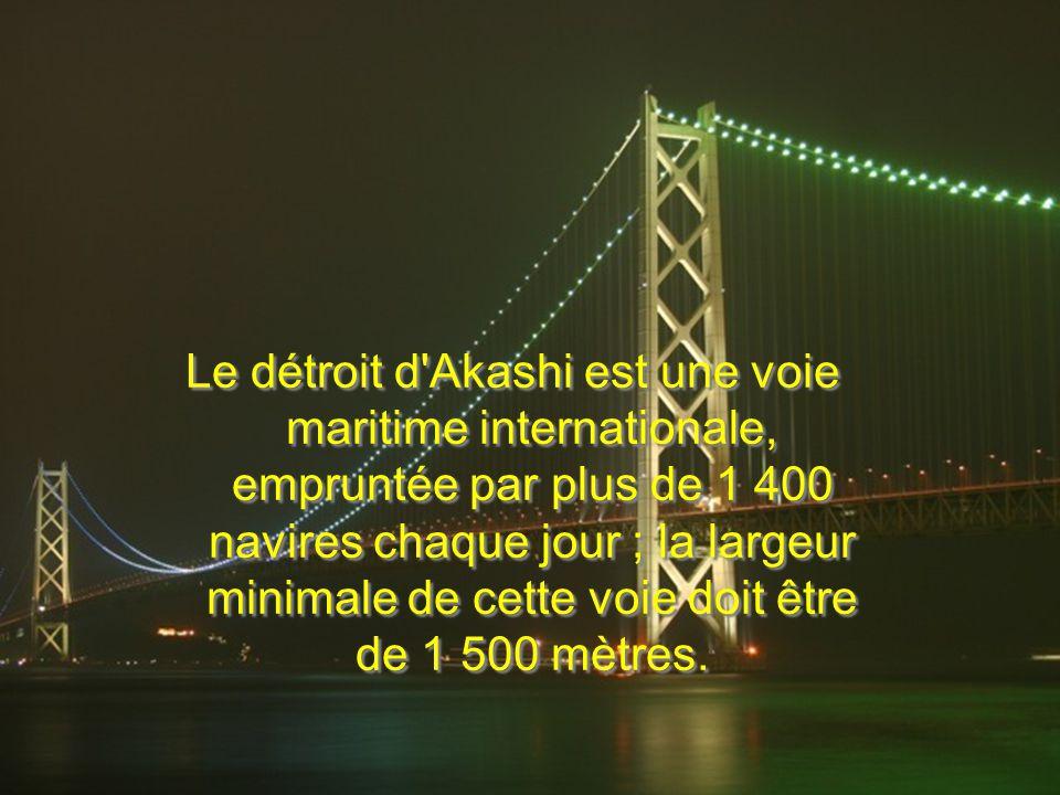 Le détroit d'Akashi est une voie maritime internationale, empruntée par plus de 1 400 navires chaque jour ; la largeur minimale de cette voie doit êtr