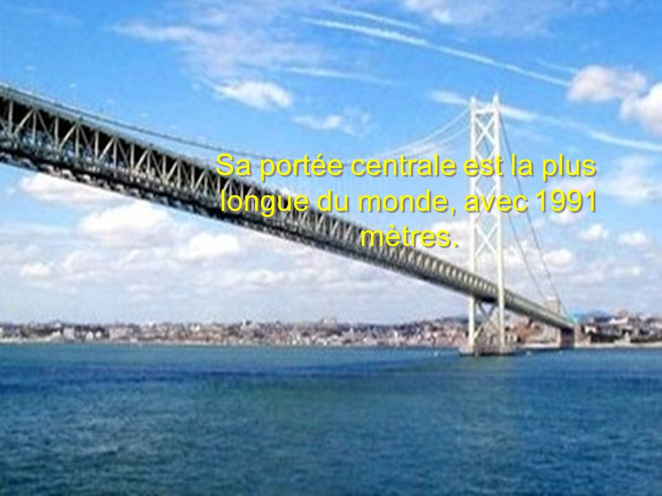 . Ce pont est le dernier élément d un réseau qui relie les quatre îles principales du Japon : Honshu, Hokkaido, Kysh et Shikoku.