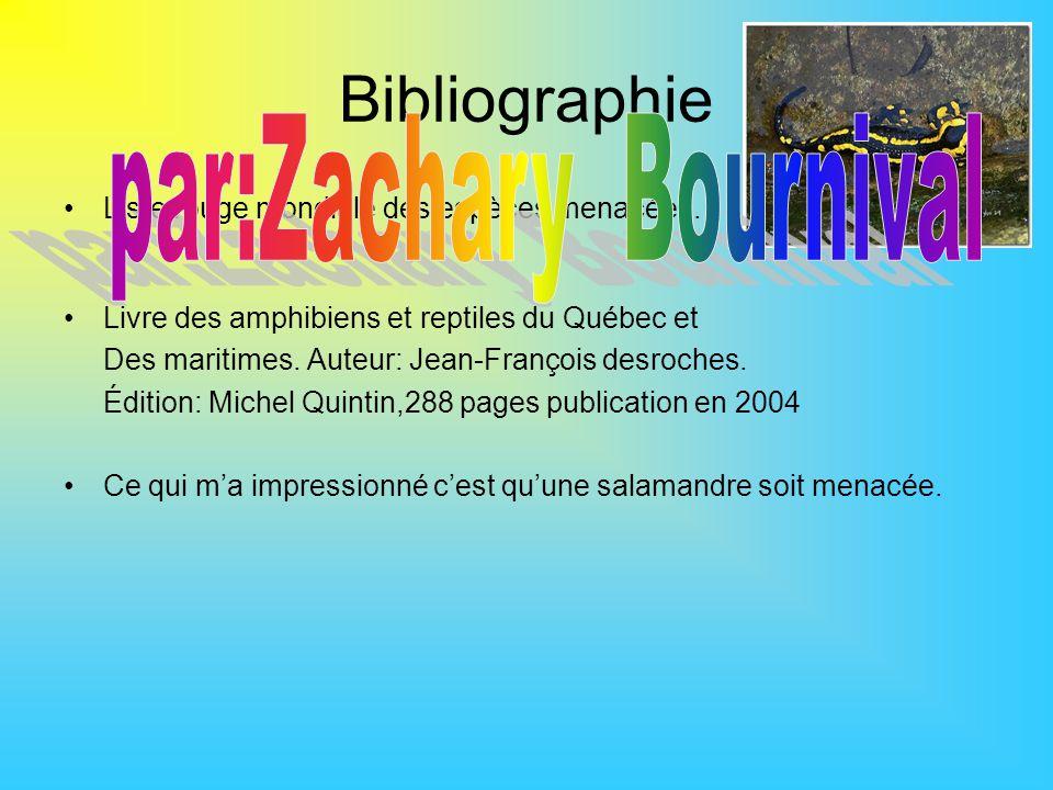 Bibliographie Liste rouge mondiale des espèces menacées. Livre des amphibiens et reptiles du Québec et Des maritimes. Auteur: Jean-François desroches.