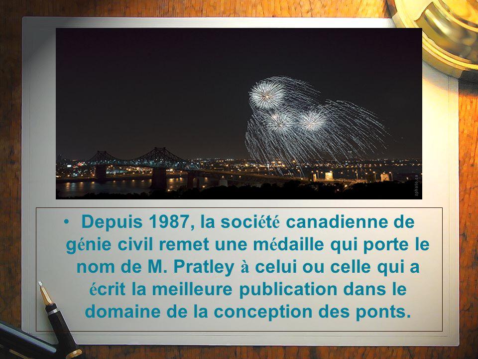 Depuis 1987, la soci é t é canadienne de g é nie civil remet une m é daille qui porte le nom de M.