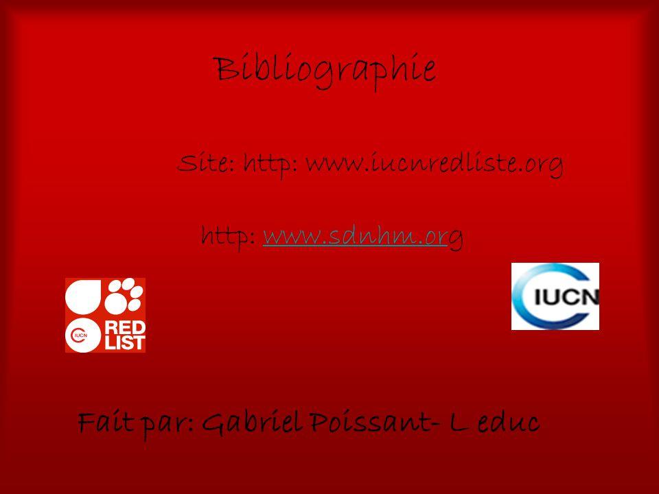 Bibliographie Fait par: Gabriel Poissant- L educ Site: http: www.iucnredliste.org http: www.sdnhm.orgwww.sdnhm.or