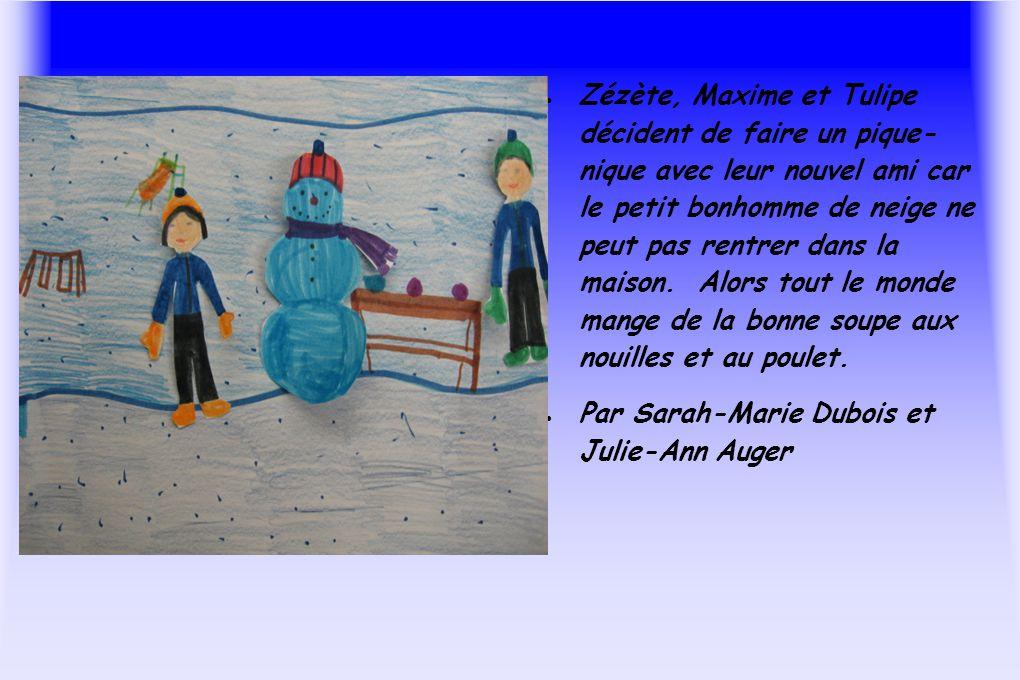 Zézète, Maxime et Tulipe décident de faire un pique- nique avec leur nouvel ami car le petit bonhomme de neige ne peut pas rentrer dans la maison. Alo