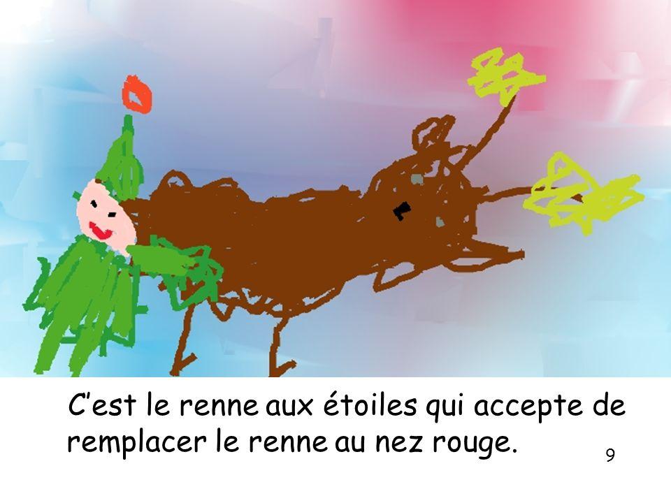 Cest le renne aux étoiles qui accepte de remplacer le renne au nez rouge. 9