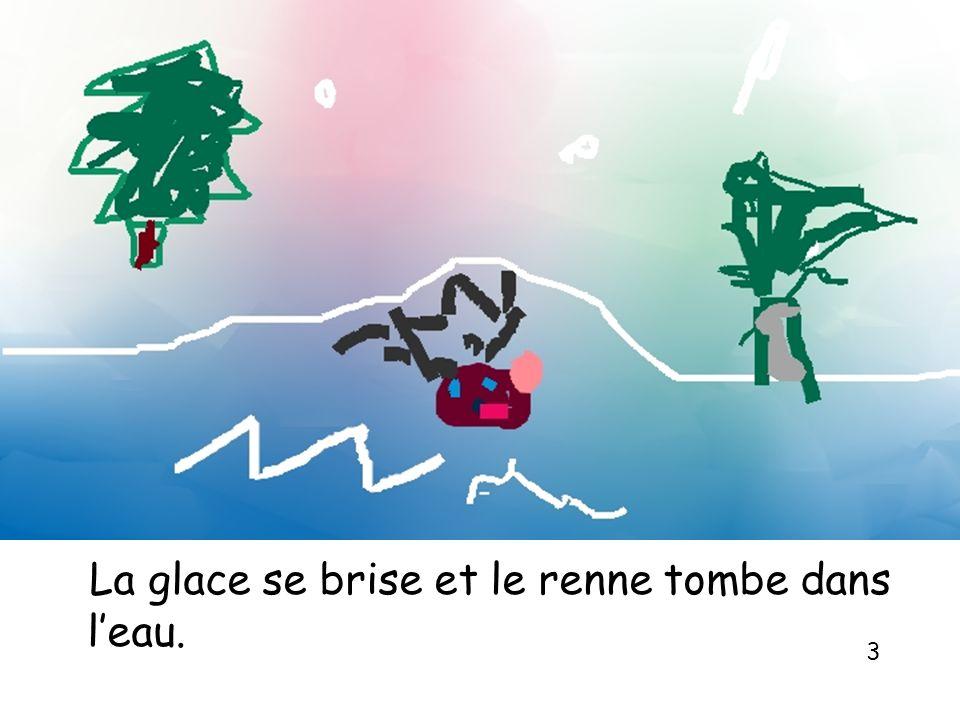 La glace se brise et le renne tombe dans leau. 3