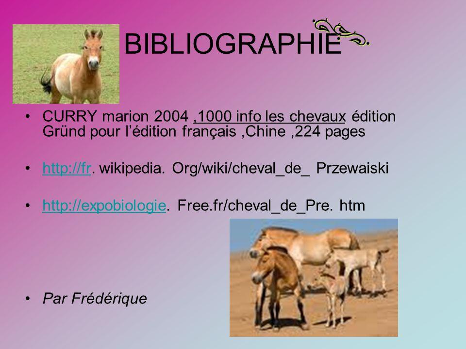 BIBLIOGRAPHIE CURRY marion 2004,1000 info les chevaux édition Gründ pour lédition français,Chine,224 pages http://fr.