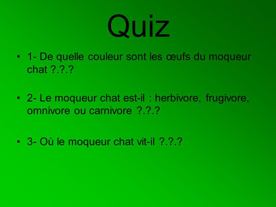 Quiz 1- De quelle couleur sont les œufs du moqueur chat ?.?.? 2- Le moqueur chat est-il : herbivore, frugivore, omnivore ou carnivore ?.?.? 3- Où le m