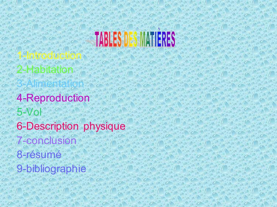 1-Introduction 2-Habitation 3-Alimentation 4-Reproduction 5-Vol 6-Description physique 7-conclusion 8-résumé 9-bibliographie
