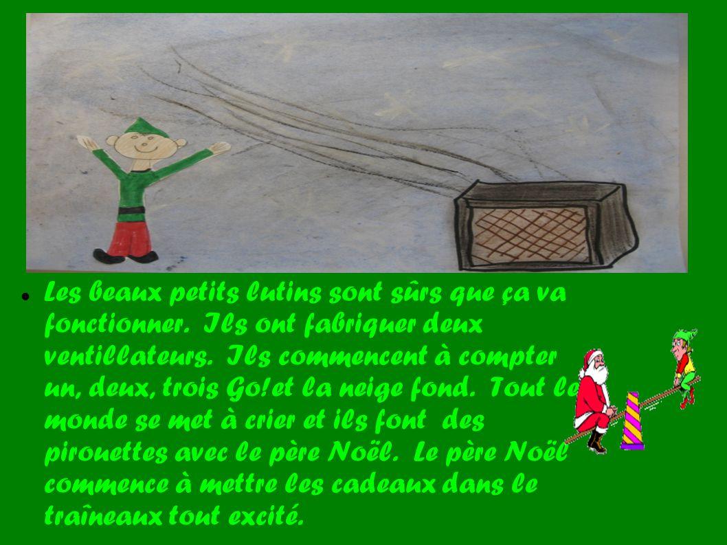 Le beau père Noël, tout content, vole dans les airs et il distribue les magnifiques cadeaux.