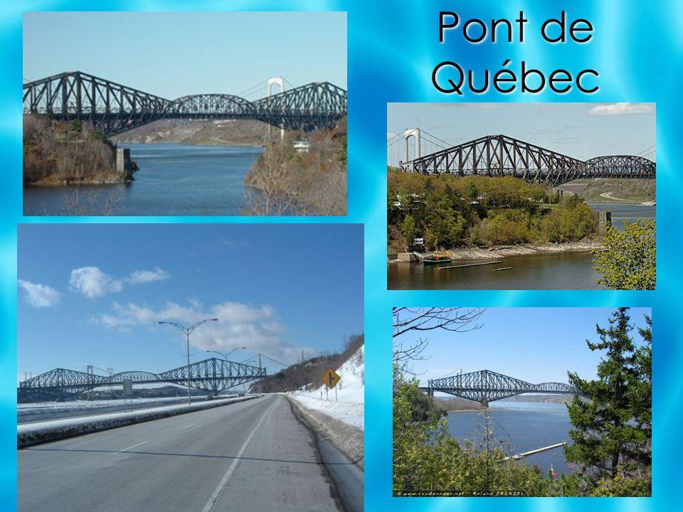 Le pont de Québec est un pont mixte ferroviaire et routier qui traverse le fleuve Saint-Laurent de l ouest de la ville de Québec jusqu à Lévis sur la rive sud.