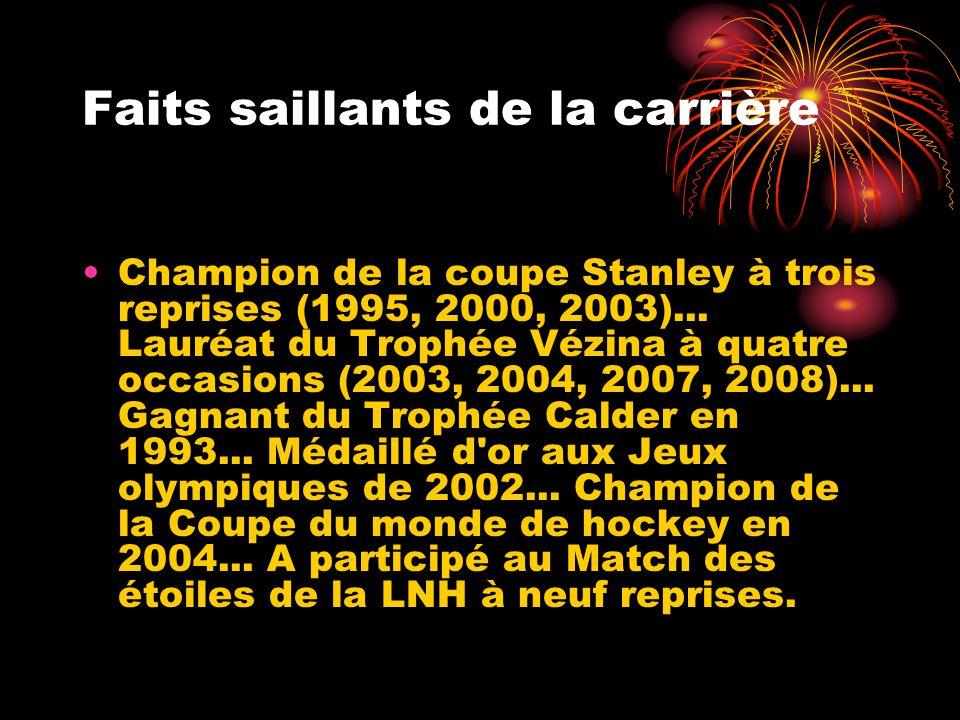 Faits saillants de la carrière Champion de la coupe Stanley à trois reprises (1995, 2000, 2003)... Lauréat du Trophée Vézina à quatre occasions (2003,