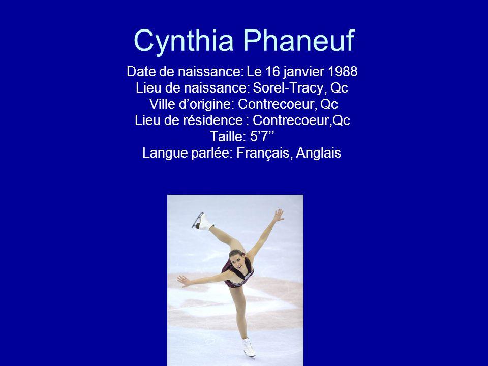 Cynthia Phaneuf Date de naissance: Le 16 janvier 1988 Lieu de naissance: Sorel-Tracy, Qc Ville dorigine: Contrecoeur, Qc Lieu de résidence : Contrecoe