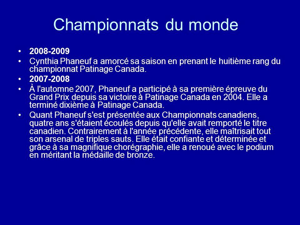 Championnats du monde 2008-2009 Cynthia Phaneuf a amorcé sa saison en prenant le huitième rang du championnat Patinage Canada. 2007-2008 À l'automne 2