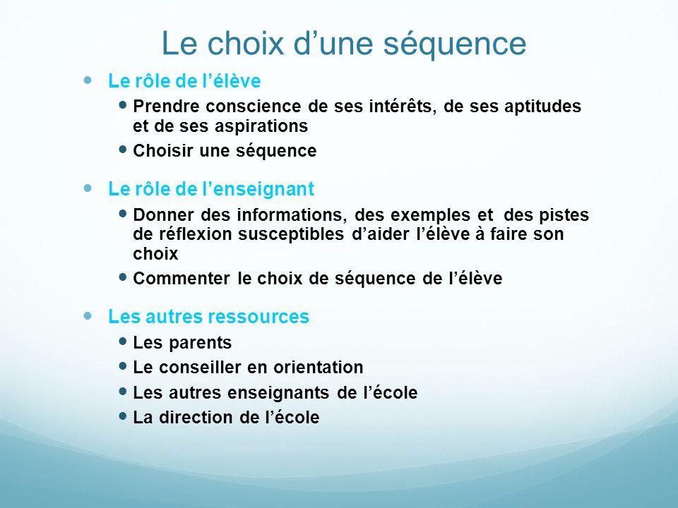 Le choix dune séquence Le rôle de lélève Prendre conscience de ses intérêts, de ses aptitudes et de ses aspirations Choisir une séquence Le rôle de le