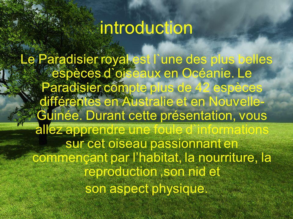 Table des matières Introduction Habitat Nourriture Reproduction Nid Aspect physique Conclusion Résumé Bibliographie