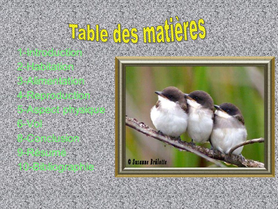 1-Introduction 2-Habitation 3-Alimentation 4-Reproduction 5-Aspect physique 6-Vol 8-Conclusion 9-Résumé 10-Bibliographie