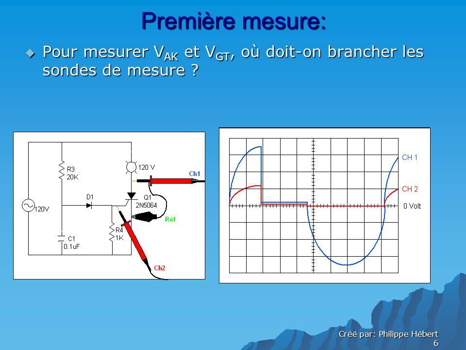 Créé par: Philippe Hébert 6 Première mesure: Pour mesurer V AK et V GT, où doit-on brancher les sondes de mesure .