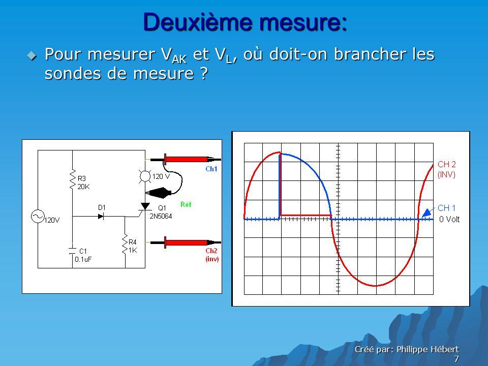 Créé par: Philippe Hébert 7 Deuxième mesure: Pour mesurer V AK et V L, où doit-on brancher les sondes de mesure .