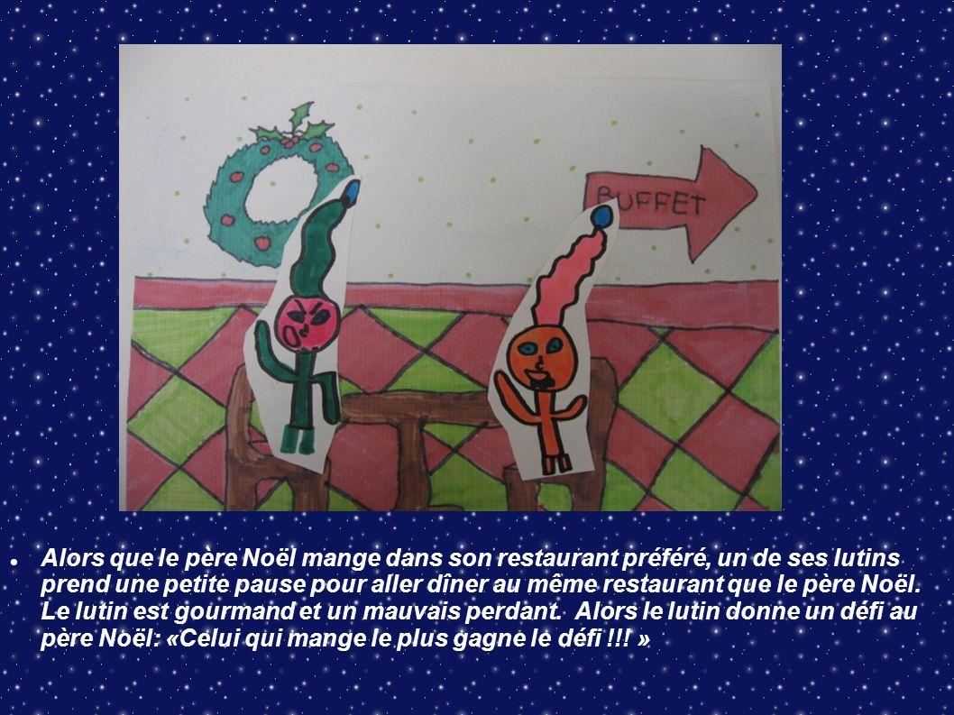 Alors que le père Noël mange dans son restaurant préféré, un de ses lutins prend une petite pause pour aller dîner au même restaurant que le père Noël