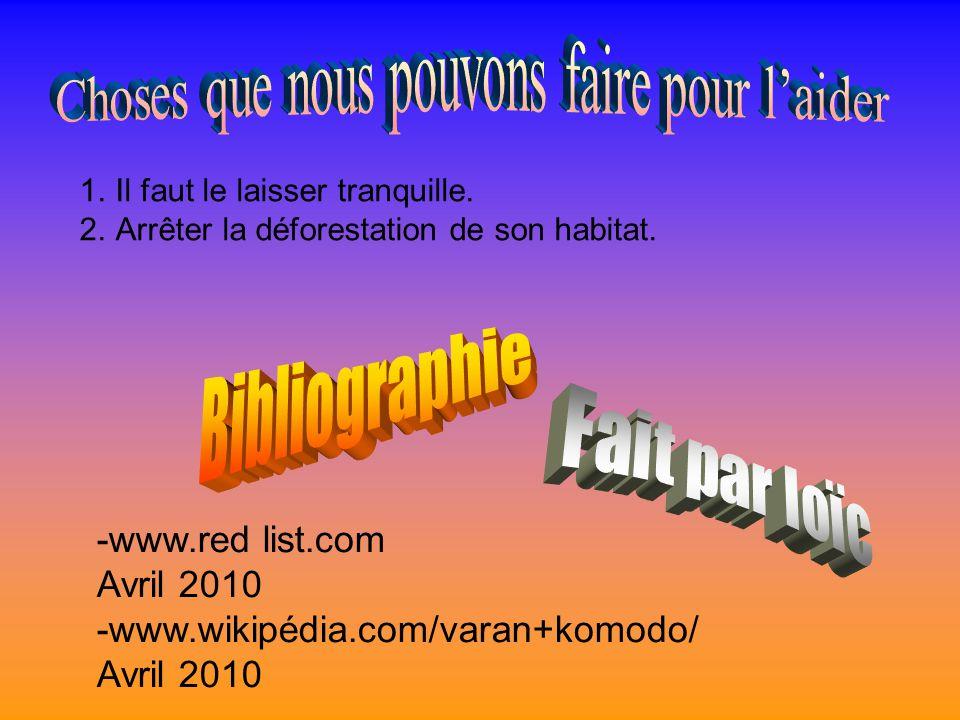 -www.red list.com Avril 2010 -www.wikipédia.com/varan+komodo/ Avril 2010 1.Il faut le laisser tranquille.